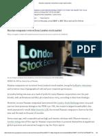 Russian Companies Retreat From London Stock Market