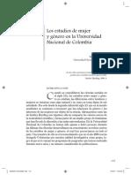 Los estudios de  mujer en genero en la universidad nacional de colombia Yolanda Puryana