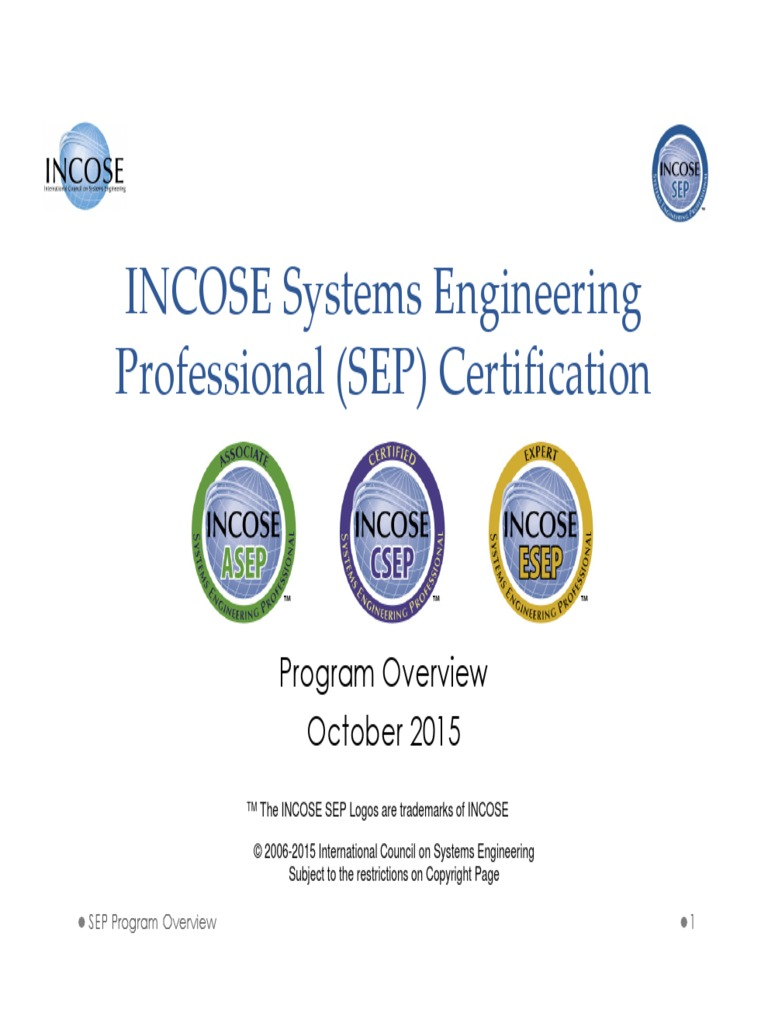 20151008 Incose Sep Overview Professional Certification Systems