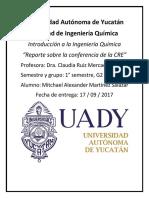Reporte sobre la conferencia de la CRE. Martinez Salazar Mitchael Alexander 1° semestre G2 IQI.