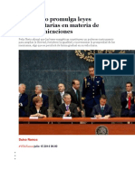 Peña Nieto Promulga Leyes Reglamentarias en Materia de Telecomunicaciones