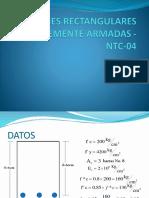 Secciones Rectangulares Simplemente Armadas - Ntc-04