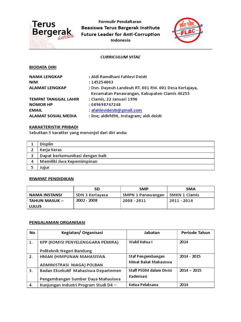 formulir pendaftaran beasiswa forum