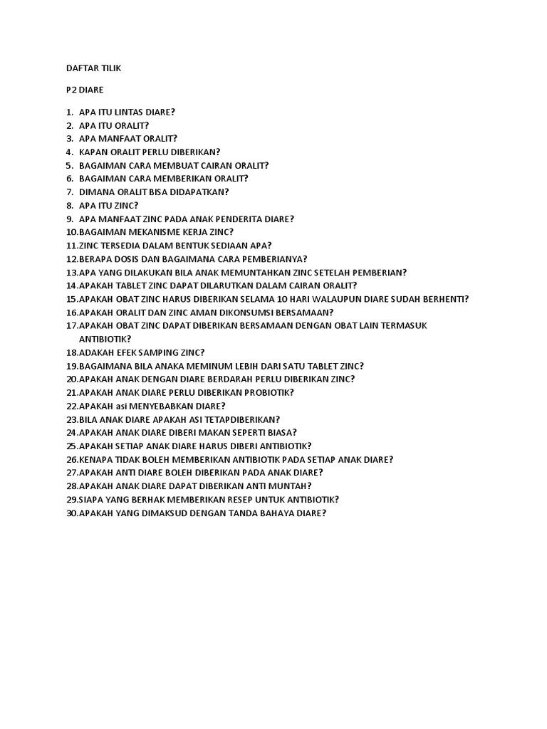 Daftar Tilik Diare