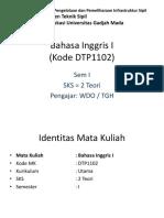 Bahasa Inggris I (Kode DTP1102)