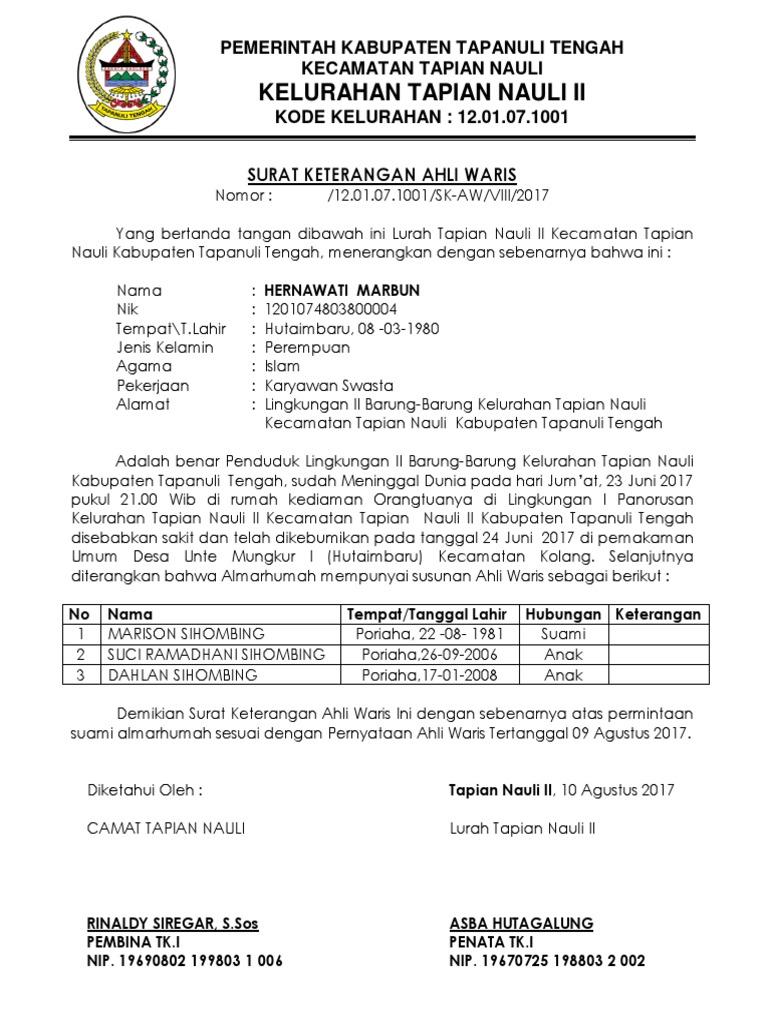 Contoh Surat Ahli Waris Dari Kelurahan - Kumpulan Surat ...