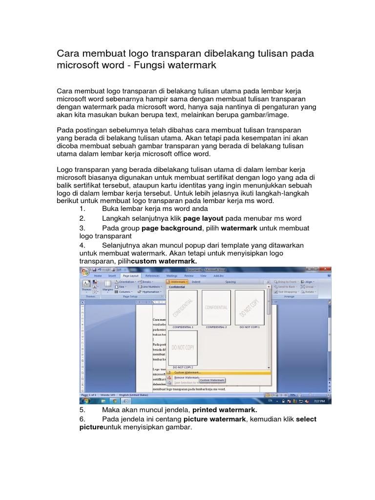 Cara Membuat Logo Transparan Dibelakang Tulisan Pada Microsoft Word