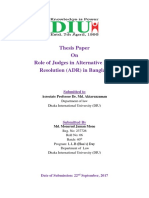 Role of Judges in Alternative Dispute Resolution (ADR) in Bangladesh