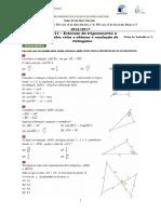 FT 01 - TRI11 - Extensão Da Trigonometria a Ângulos Retos e Ângulos Obtusos; Resolução de Triângulos