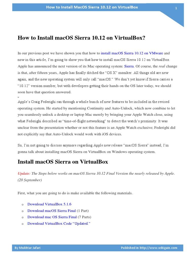 How to Install macOS Sierra 10 12 on VirtualBox | Mac Os | Virtual