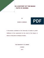 Towards a History of the Bahai Faith in Zambia