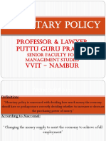 Monetary Policy Gp1  by Professor & Lawyer Puttu Guru Prasad