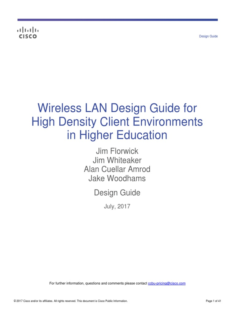 Wireless LAN Design Guide for High Density Client Environments in