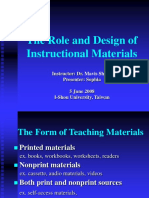 The Role and Design of Instructional Materials Richards, Ch. 8