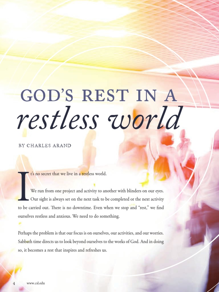 God's rest in a restless world - Charles Arand   Jesus, the