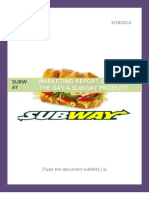 Marketing Report on Subway-sub of the Day
