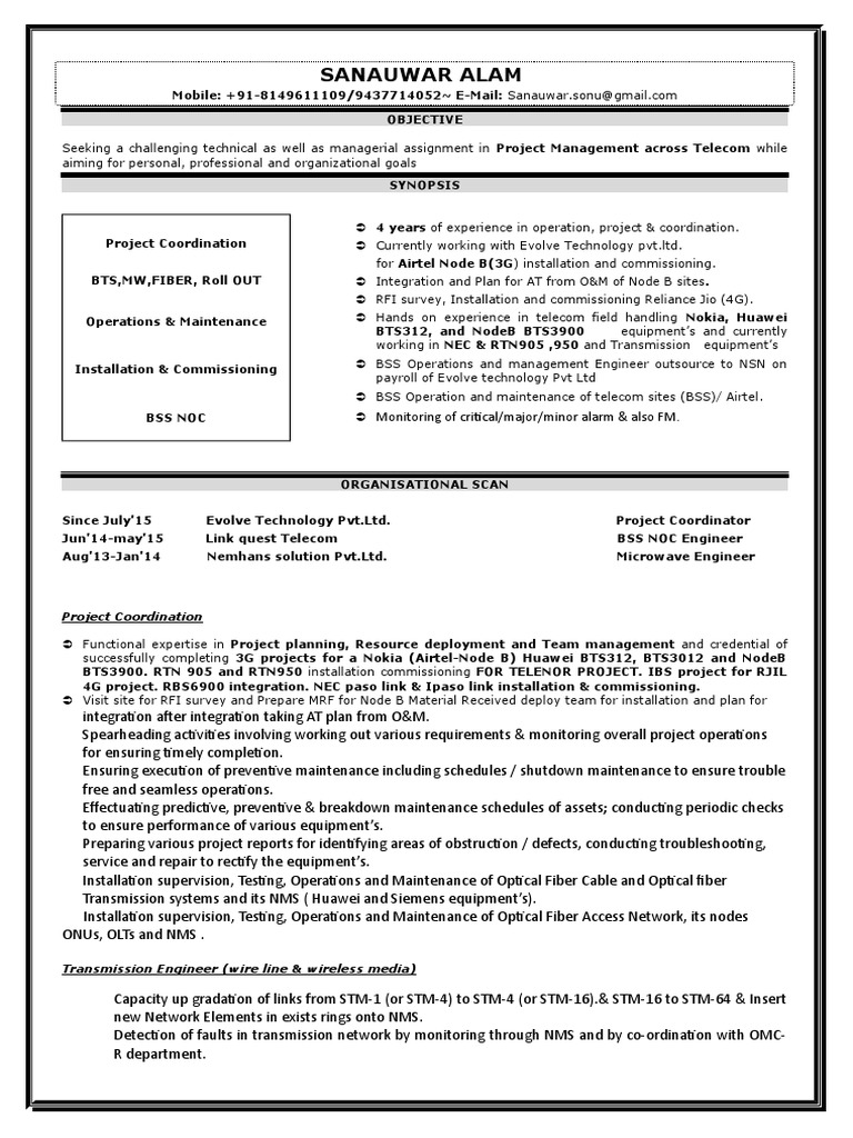 Unique Noc Engineer Resume Doc Embellishment Resume Ideas