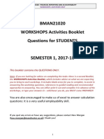[Workshops Sem 1 Questions for Students Bman 21020] 2017-18