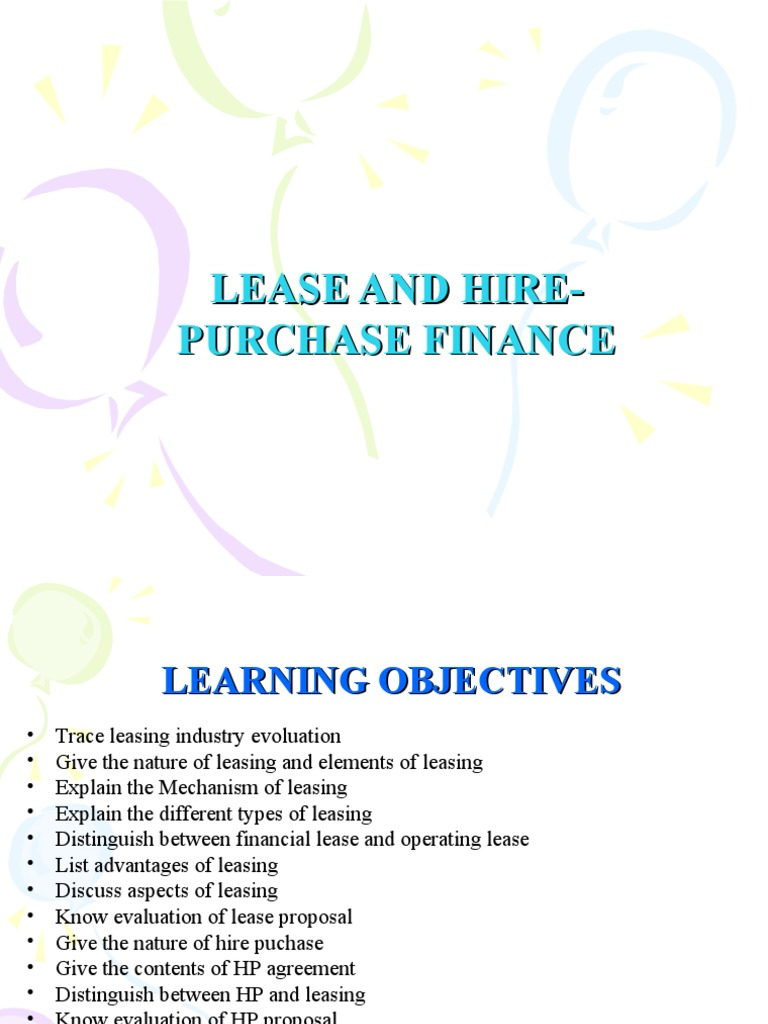 Lease And Hire Purchase