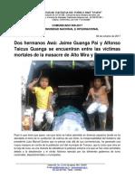 Comunicado 008 - 2017 Dos Hermanos Awá Asesinados en Masacre de Alto Mira y Frontera