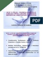 APRESENTAÇÃO. LEI Nº 11.34006 – VIOLÊNCIA DOMÉSTICA E FAMILIAR CONTRA A MULHER. MEDIDAS PREVENTIV