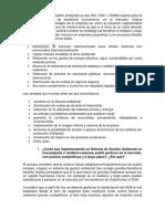 Tener Un Sistema de Gestión Ambiental Ya Sea ISO 14001 o EMAS Supone Para La Empresa Una Serie de Beneficios Económicos