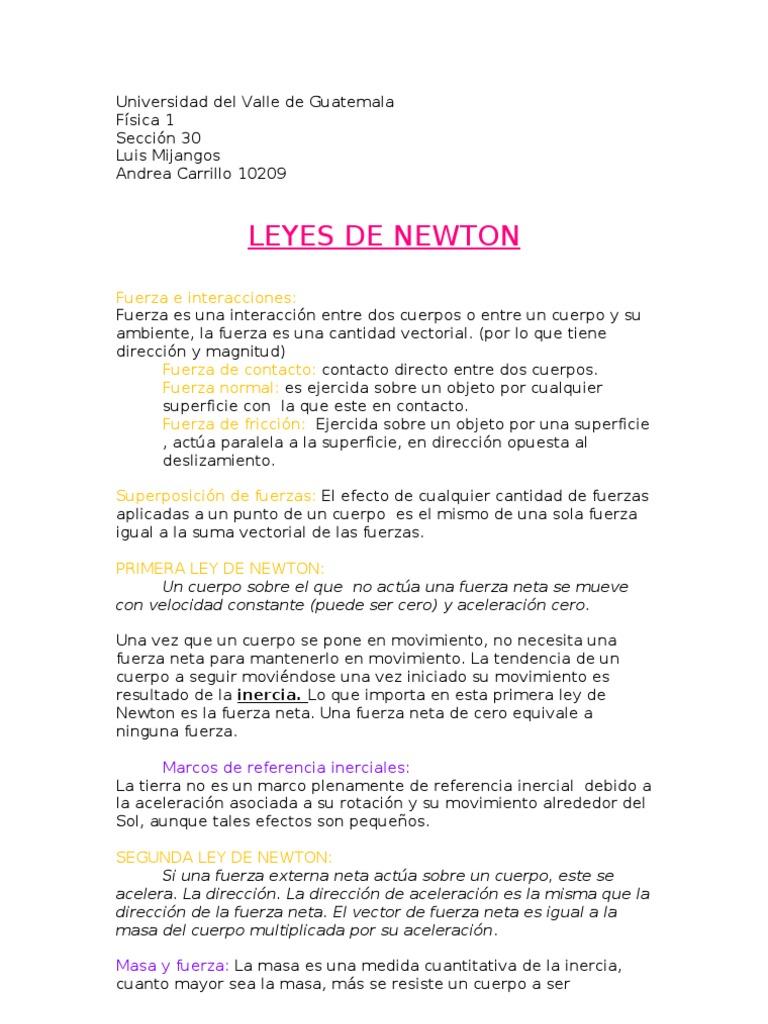 Resumen Leyes de Newton