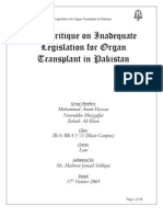 The Critique on Inadequate Legislation for Organ Transplant in Pakistan