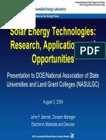 nrel solar energy types   applications