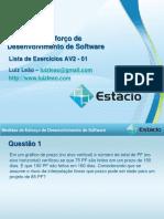 Lista Exercicios Medida AV2 01