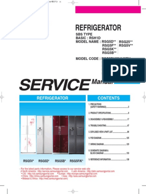 Samsung RSG5FURS pdf | Refrigerator | Ac Power Plugs And Sockets