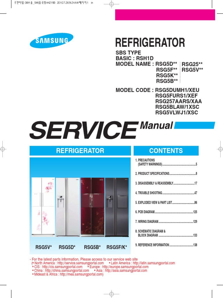 Samsung RSG5FURS.pdf | Refrigerator | Ac Power Plugs And Sockets