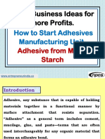 Small Business Ideas for more Profits. How to Start Adhesives Manufacturing Unit. Adhesive from Maize Starch