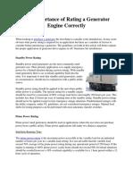 Rating a Generator Engine