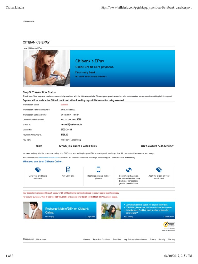 Citi Card Online Payment >> Citibank S Epay