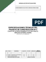 ESPECIFICACIONES TECNICAS DE PLANTA DE DESHIDRATACION DE GAS