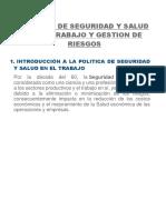 Politica de Seguridad y Salud en El Trabajo y Gestión de Riesgos
