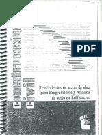 Rendimientos de Mano de Obra Para Programacion y Analisis de Co