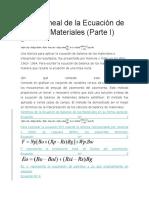 Forma Lineal de La Ecuación de Balance Materiales