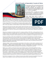 125 Años de La Consagración Del Ecuador Al Inmaculado Corazón de María