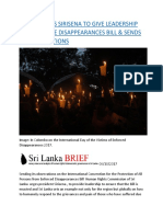 HRC-SL URGES SIRISENA TO GIVE LEADERSHIP TO ENACT THE DISAPPEARANCES BILL & SENDS ITS OBSERVATIONS.docx