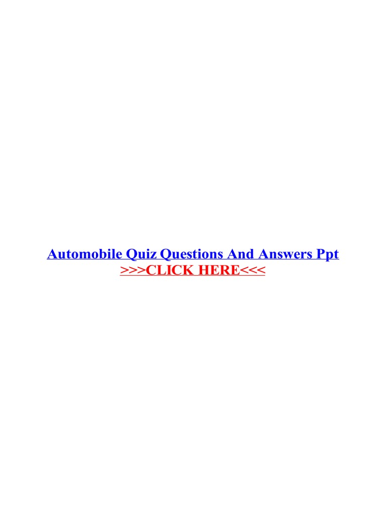 Automobile Quiz Questions And Answers Ppt Quiz Portable Document