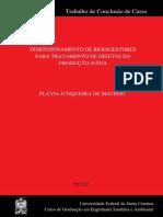 Dimensionamento de Biodigestores Para Tratamento de Dejetos Da Produção Suína
