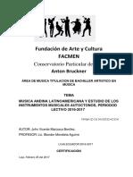 Trabajo Investigativo de Música- clasificación de instrumentos musicales en Sur América