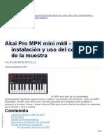 Akai Pro MPK Mini MkII - Descarga, Instalación y Uso Del Contenido de La Muestra