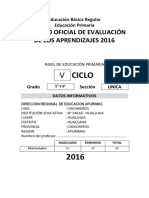 Registro Auxiliar de Evaluacion Primaria 2016 5to