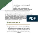 Ecosistemas y Factores Que Intervienen en La Actividad Agrícola