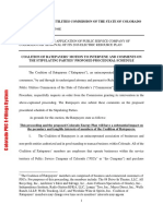 19037209_2_CO PUC Proceeding No COALITION OF RATEPAYERS' MOTION TO INTERVENE AND COMMENTS ON THE STIPULATING PARTIES' PROPOSED PROCEDURAL SCHEDULE