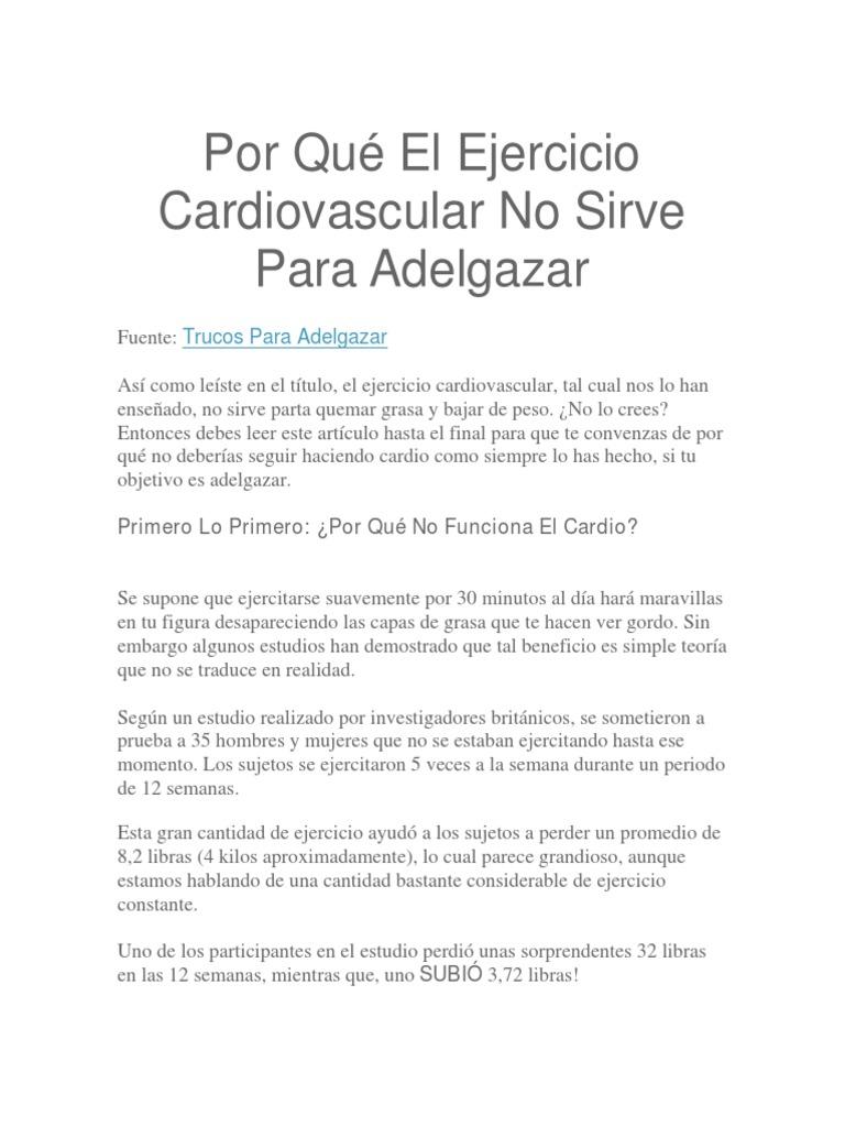 Bajar de peso ejercicios cardio