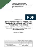 Subestación 34,5 Kv Tipo Inetrior en Edificio Prefabricado( Power House) Emisión a 13-08-2012